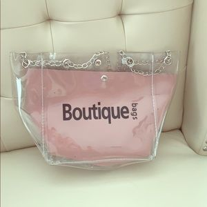 Handbags - NWT CLEAR TOTE WITH CHAIN HANDLES